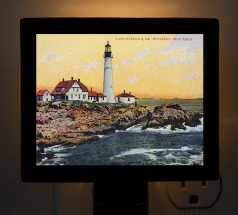 Maine - Night Light of Cape Elizabeth, Portland Head Light - That Fabled Shore Home Decor