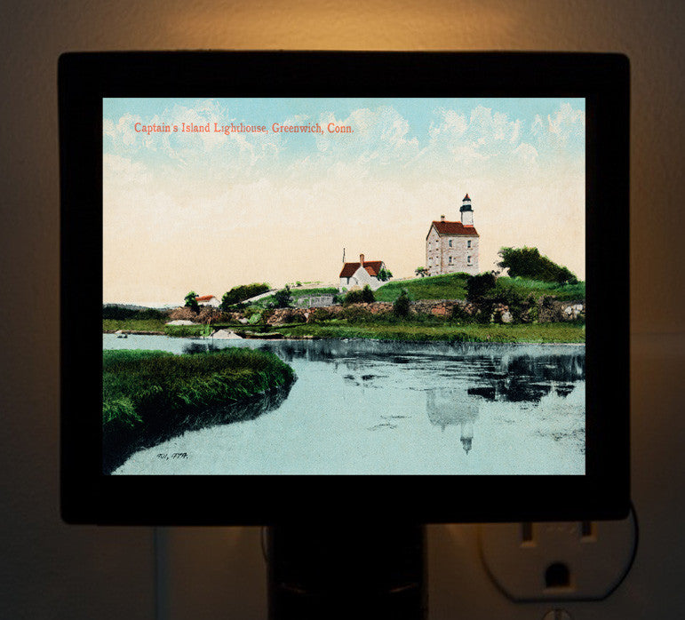 Greenwich, Connecticut Captain's Island Light House Night Light - That Fabled Shore Home Decor