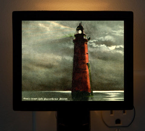 Minot Ledge Light at Night Night Light - That Fabled Shore Home Decor