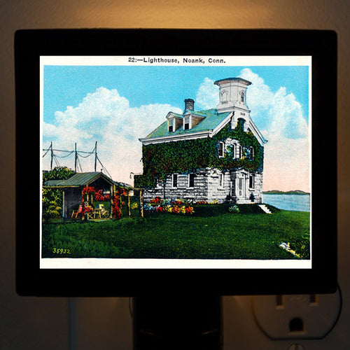 CT - Noank Lighthouse Night Light - That Fabled Shore Home Decor