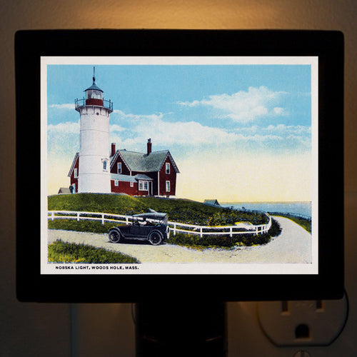 Falmouth MA Woods Hole - Nobska Light with Model A Ford Night Light - That Fabled Shore Home Decor