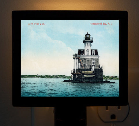 Providence RI - Sabin Point Lighthouse Night Light - That Fabled Shore Home Decor
