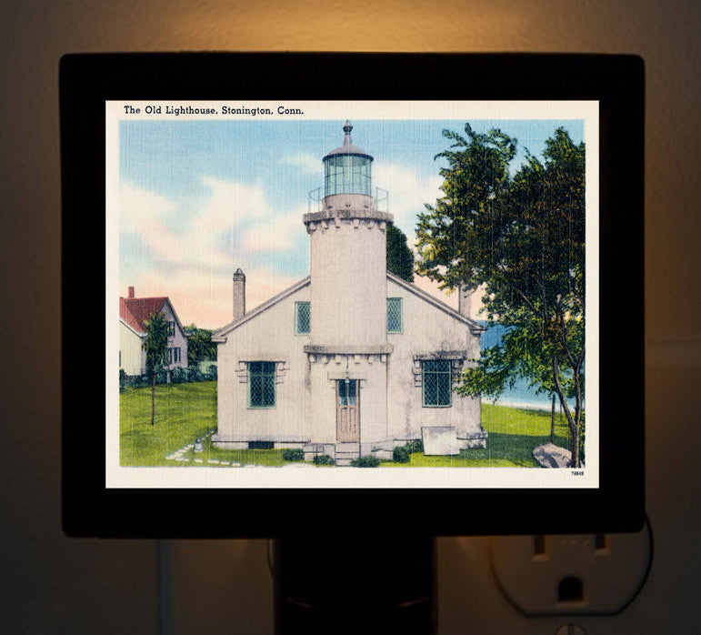 CT - Stonington The Old Lighthouse Night Light - That Fabled Shore Home Decor