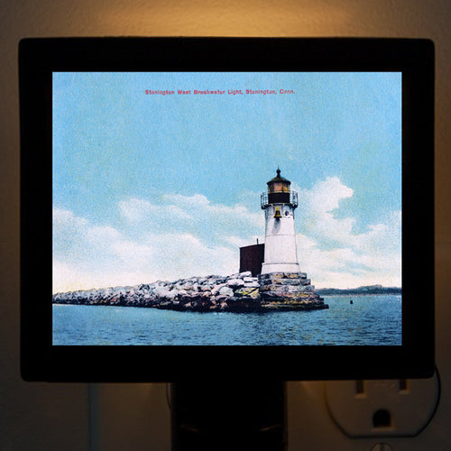 CT - Stonington West Breakwater Light Night Light - That Fabled Shore Home Decor