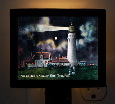 Highland Light by Moonlight North Truro, MA Night Light - That Fabled Shore Home Decor