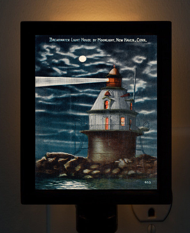 CT - New Haven Harbor Light House by Moonlight Night Light - That Fabled Shore Home Decor