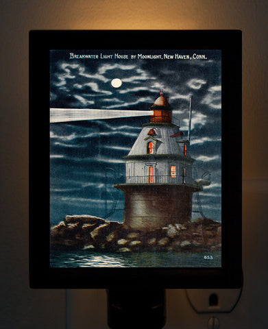 CT - New Haven Harbor Light House by Moonlight Night Light