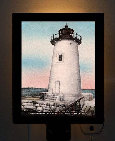 Edgartown Lighthouse - Circa 1940 Night Light - That Fabled Shore Home Decor