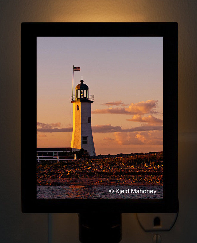 Scituate Lighthouse by Photographer Kjeld Mahoney Night Light - That Fabled Shore Home Decor