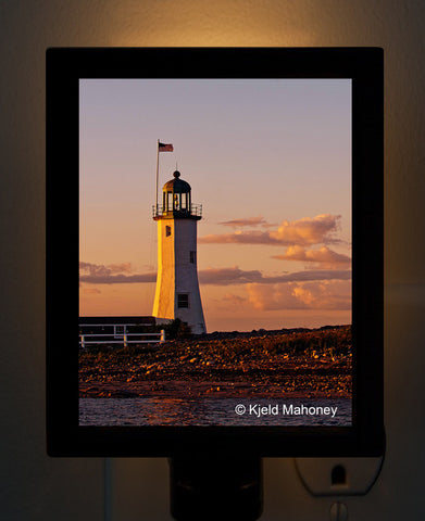 Scituate Lighthouse by Photographer Kjeld Mahoney Night Light
