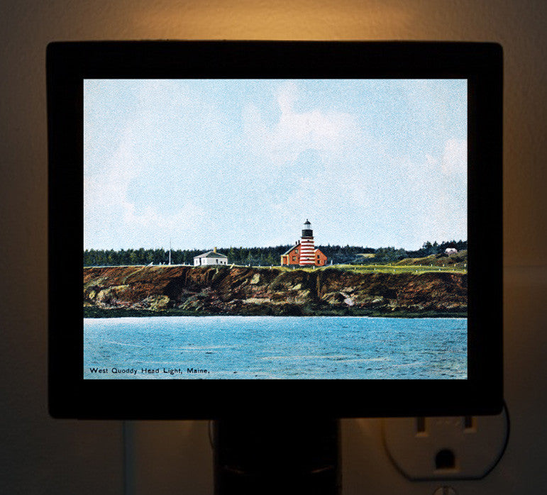 Maine - West Quoddy Head Light Night Light - That Fabled Shore Home Decor
