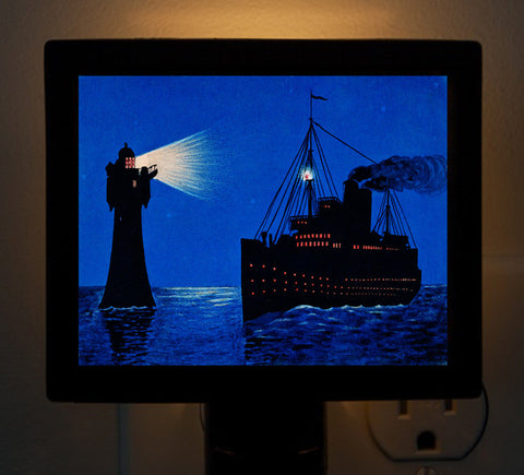 Roter Sands Lighthouse with Passing Ship Night Light - That Fabled Shore Home Decor