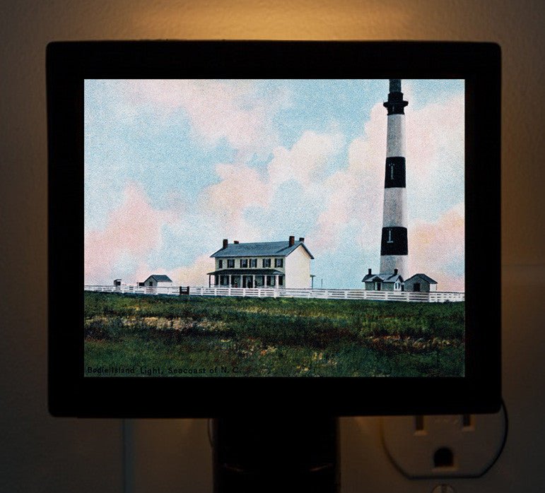 NC - Night Light of Bodie Island Lighthouse in North Carolina - That Fabled Shore Home Decor