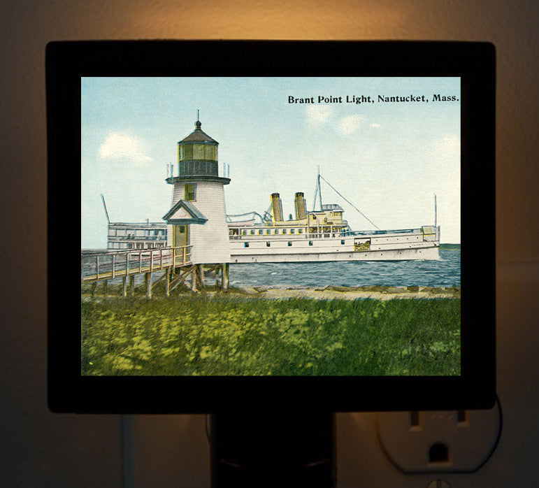 Nantucket - Brant Point Light with Steamer Night Light - That Fabled Shore Home Decor