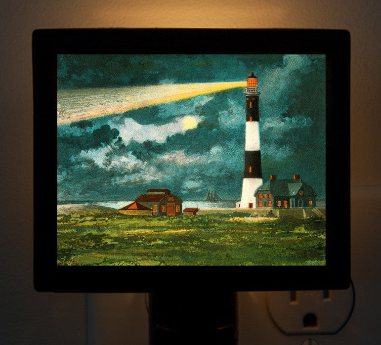 NY - Fire Island Lighthouse At Night - Night Light - That Fabled Shore Home Decor