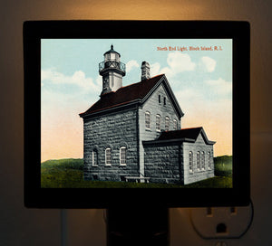 RI - Block Island, North End Light Night Light - That Fabled Shore Home Decor