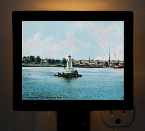 Providence RI - Sassafras Point Lighthouse Night Light - That Fabled Shore Home Decor