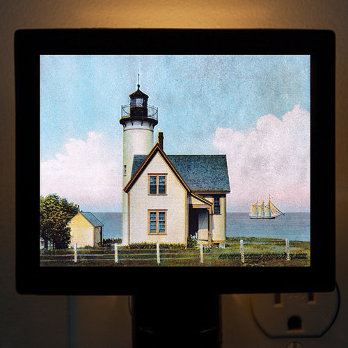 Vineyard Haven, MA - West Chop Light By Day Night Light - That Fabled Shore Home Decor