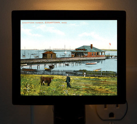 Edgartown Harbor Man Grazing A Cow Night Light - That Fabled Shore Home Decor