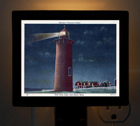 Oak Bluffs - East Chop Light (night) Night Light - That Fabled Shore Home Decor
