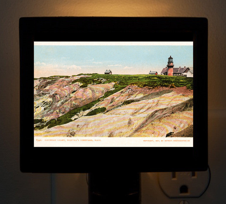 Gay Head Lighthouse With Clay Cliffs Aquinnah, MA Night Light - That Fabled Shore Home Decor