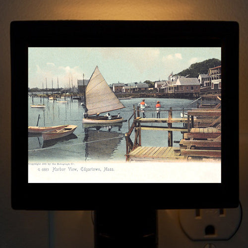 Edgartown Harbor In 1905 With Sailor Boys Night Light - That Fabled Shore Home Decor