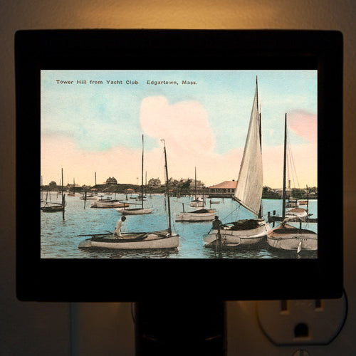 Edgartown - Tower Hill from Yacht Club Night Light - That Fabled Shore Home Decor
