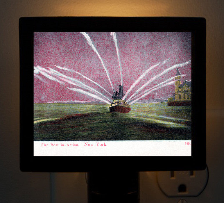 Fireboat Plumes In Salute New York Harbor Night Light - That Fabled Shore Home Decor