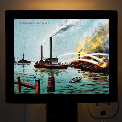 "Fire Boat ""New Yorker"" Battling Wharf Fire New York Harbor Night Light - That Fabled Shore Home Decor"