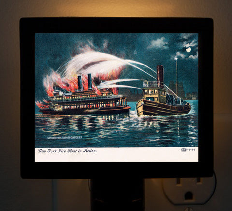 Fire Boat In Action In New York Harbor Night Light