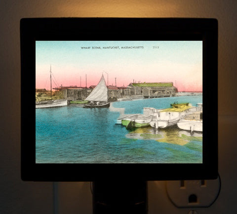 Nantucket - Wharf Scene Night Light