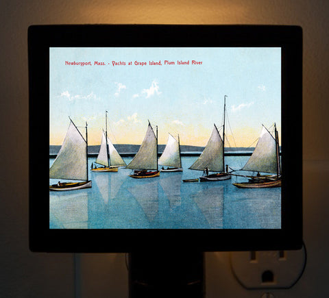 Newburyport - Yachts at Grape Island, Plum Island River Night Light - That Fabled Shore Home Decor