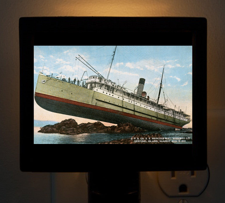 "Night Light - Alaska, Sentinel Island - Wreck ""Princess May"" - That Fabled Shore Home Decor"