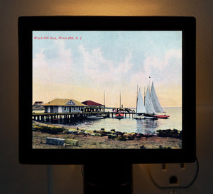 Watch Hill, RI - Watch Hill Harbor Sailboats Night Light - That Fabled Shore Home Decor