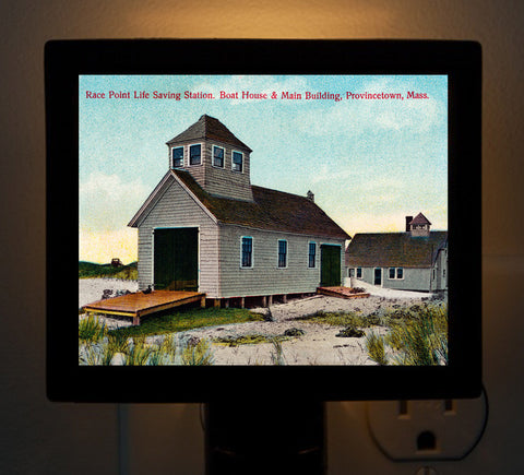 Provincetown - Race Point Life Saving Station Night Light - That Fabled Shore Home Decor