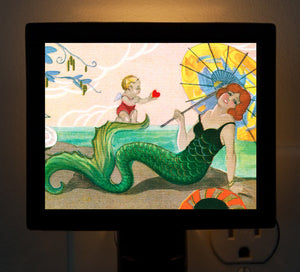 Mermaid and Cupid Night Light - That Fabled Shore Home Decor