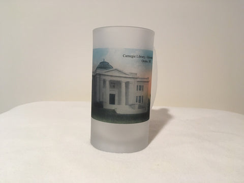 Colorful Frosted Glass Beer Mug of Carnegie Library at UMaine - Orono. - That Fabled Shore Home Decor