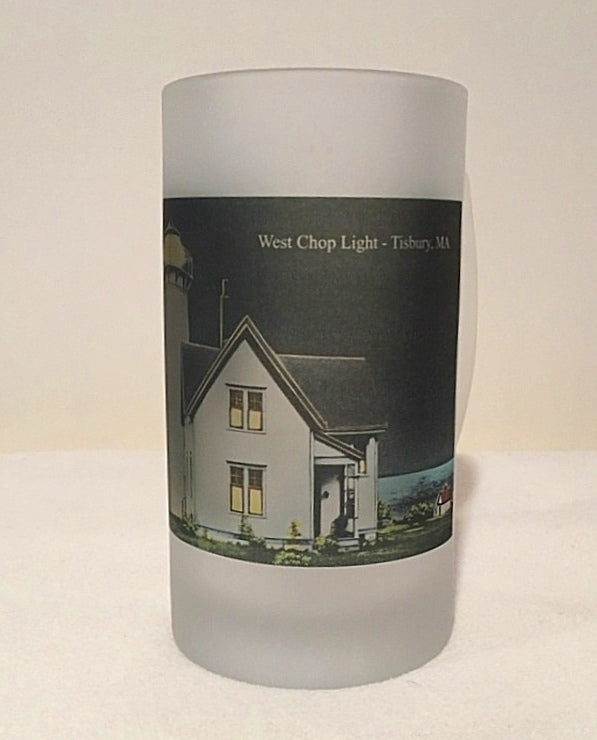 Colorful Frosted Glass Mug of West Chop Light at Night in Tisbury, MA - That Fabled Shore Home Decor
