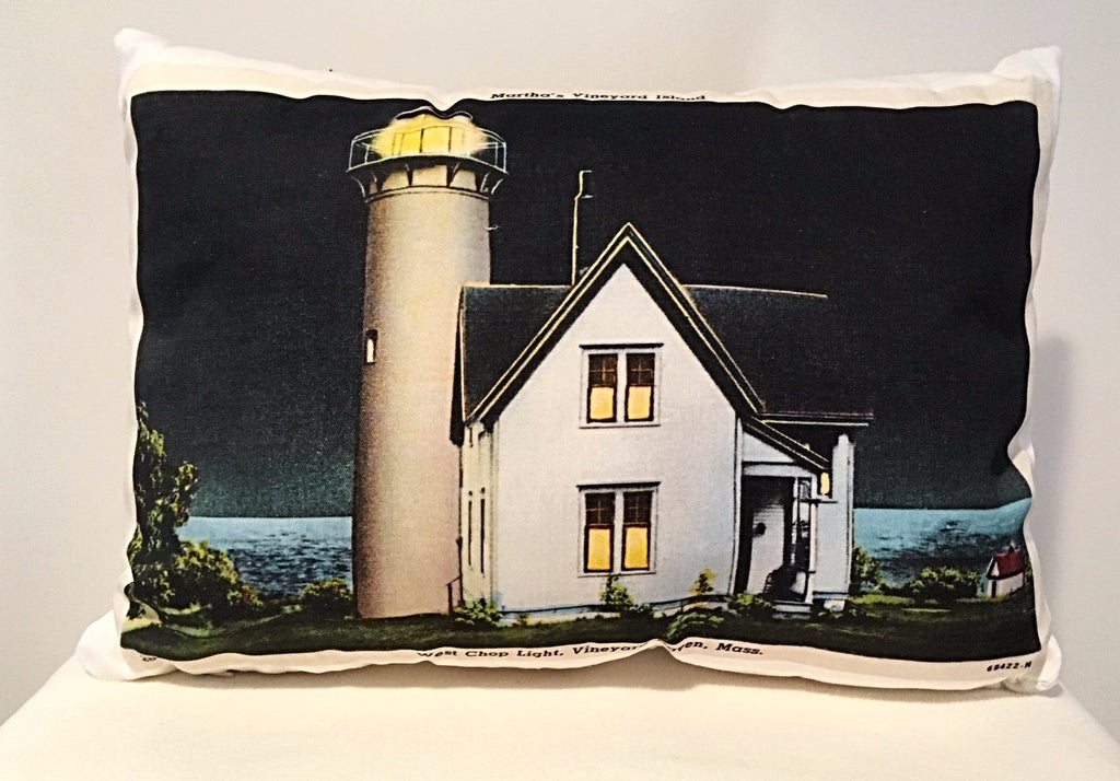 West Chop Lighthouse Day & Night Two-Sided Pillow - That Fabled Shore Home Decor