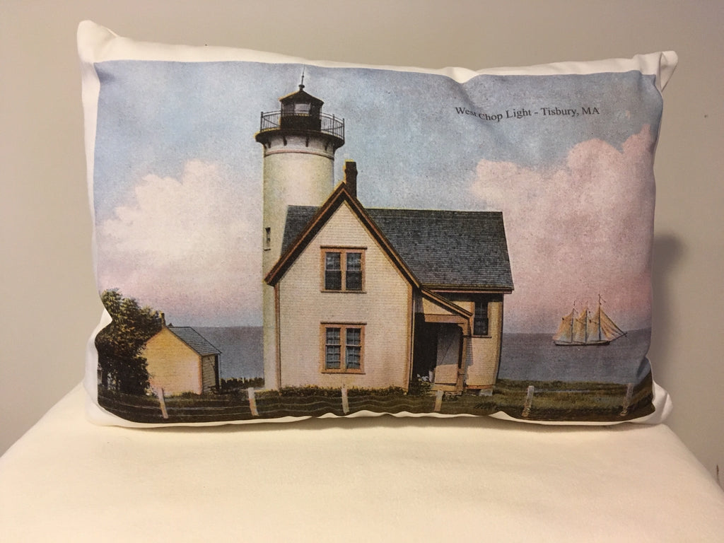 Colorful Cotton Twill Pillow Of West Chop Light On Martha's Vineyard - That Fabled Shore Home Decor