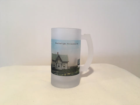 Colorful Frosted Glass Beer Mug of Wood End Light in Provincetown, MA - That Fabled Shore Home Decor