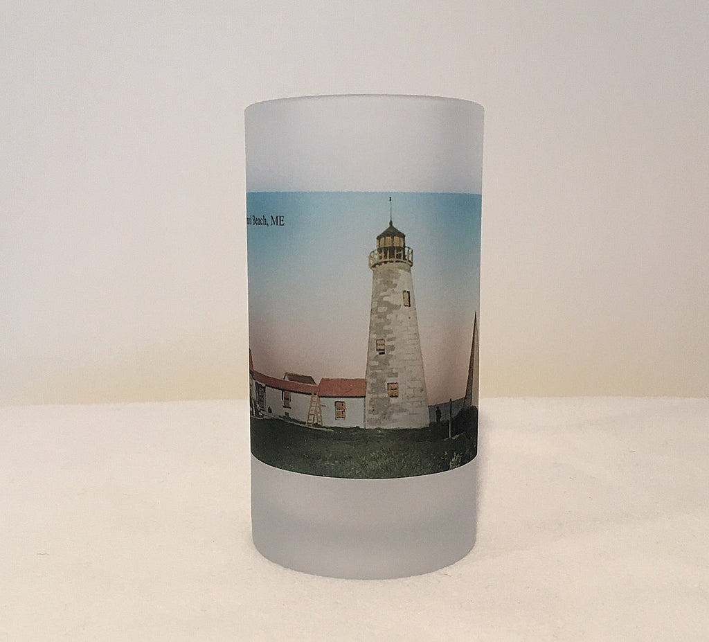 Colorful Frosted Glass Beer Mug of Wood Island Light in Old Orchard Beach Maine - That Fabled Shore Home Decor