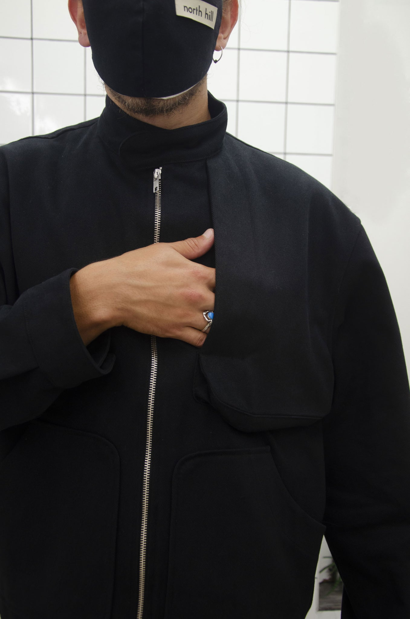 Black Oversize Zip Jacket