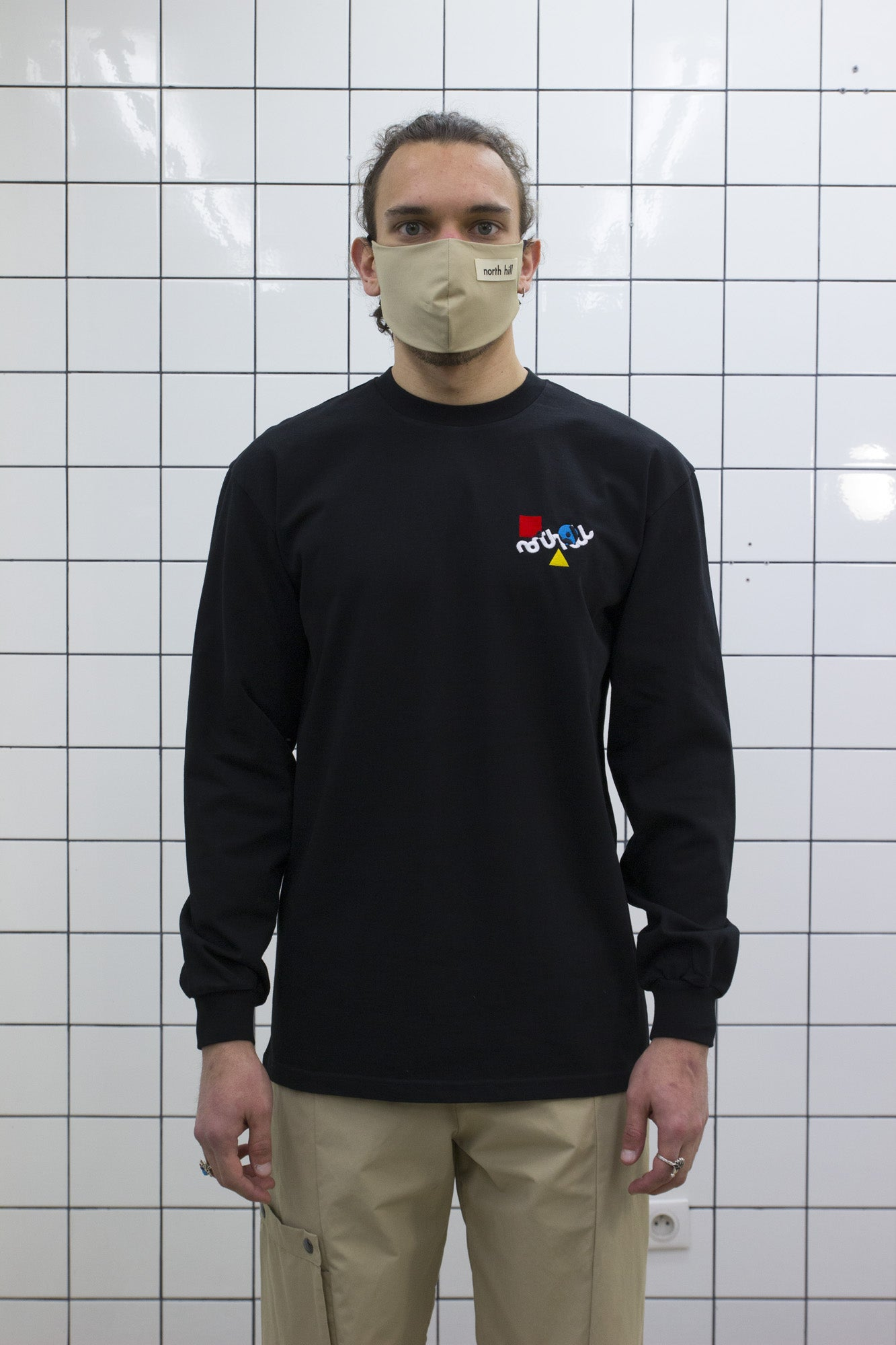 Black Color Logo Longsleeve Tee