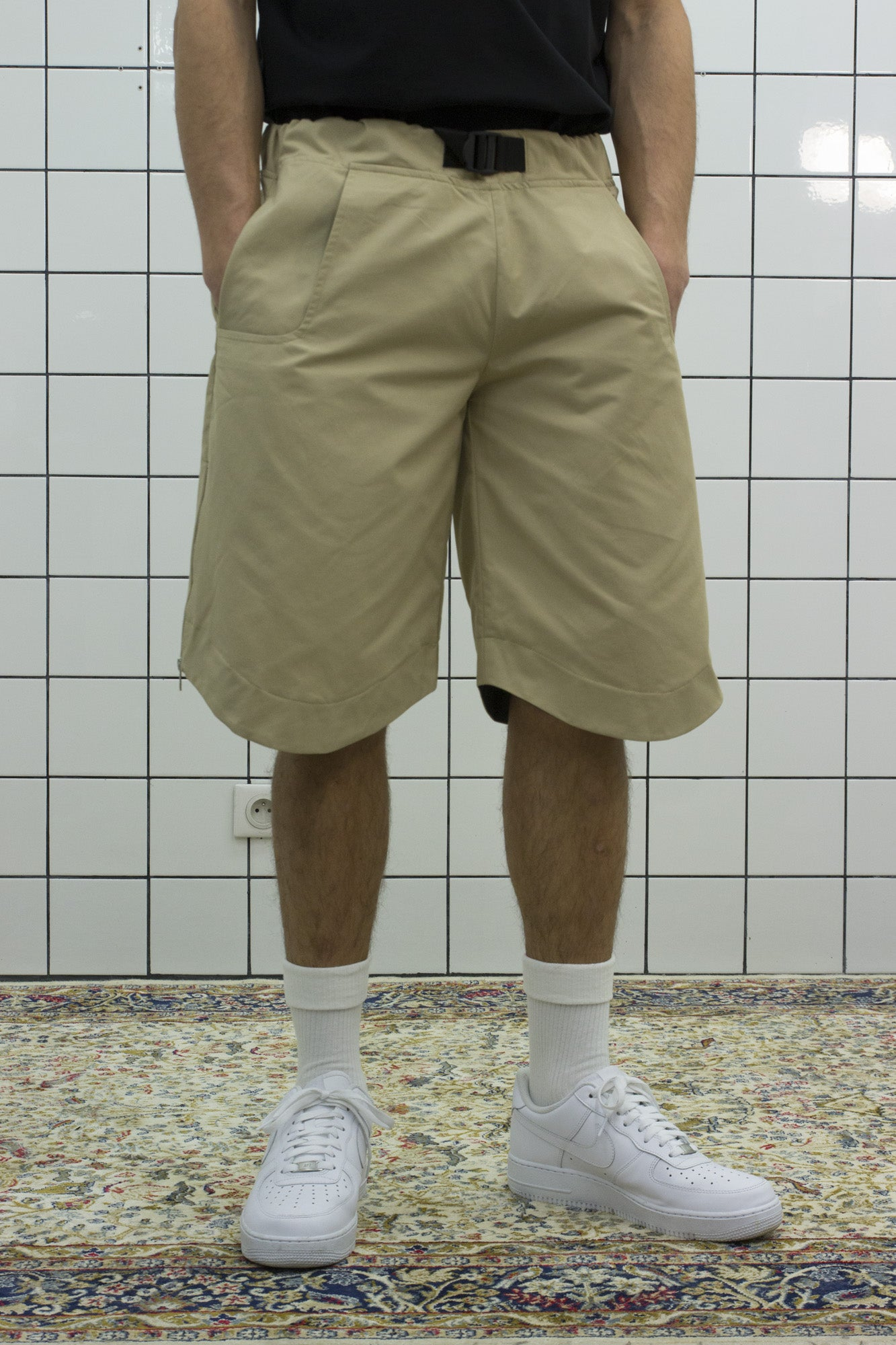 Beige Tech Shorts