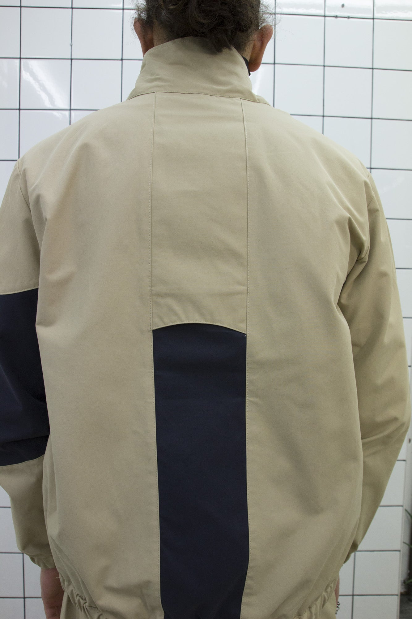 Beige Funnel Zip Jacket