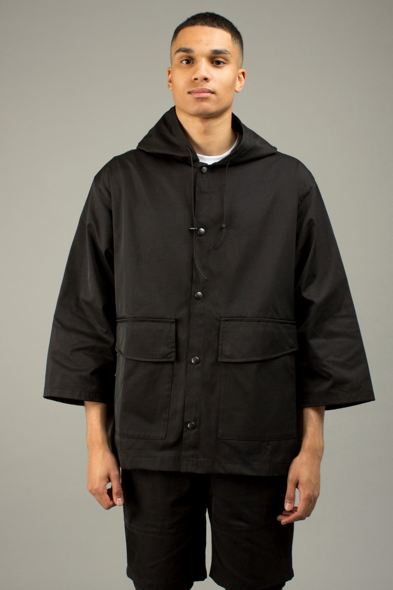 BLACK 3/4 SLEEVE PARKA