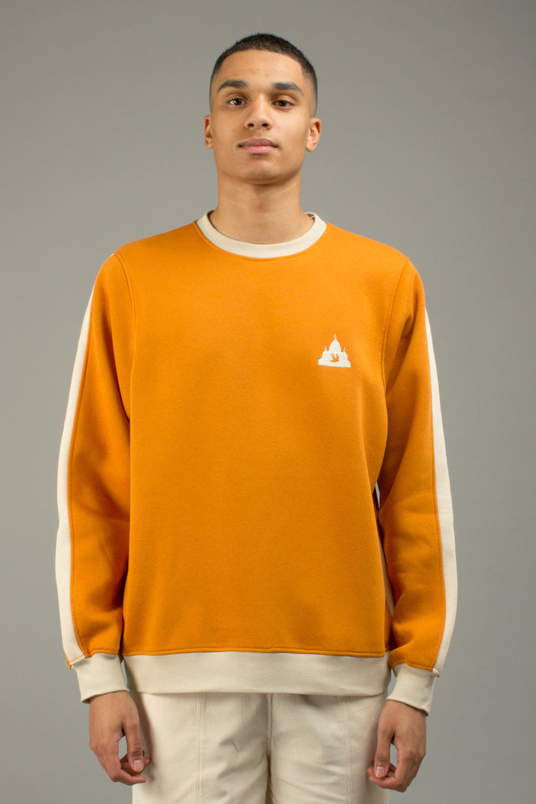ORANGE COLORBLOCK CREWNECK