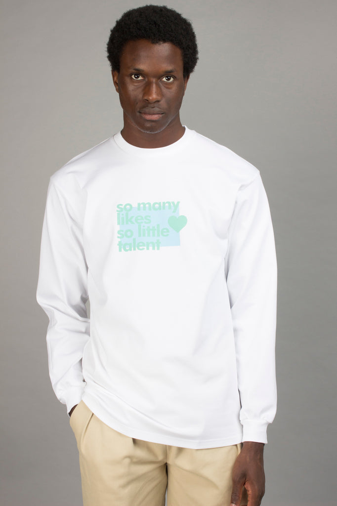 WHITE SO MANY LIKES LONGSLEEVE TEE