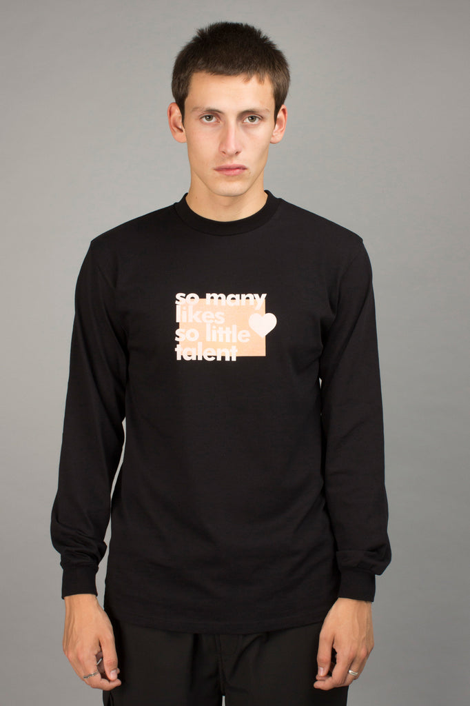 BLACK SO MANY LIKES LONGSLEEVE TEE